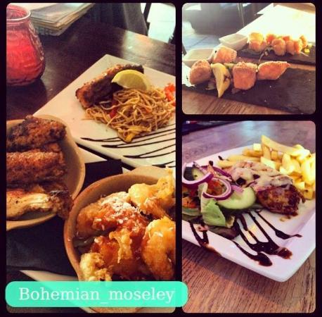 Bohemian cocktail bar kitchen birmingham moseley and for Food bar menu birmingham
