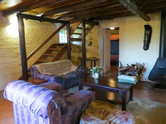 Mutarazi Cottages: the living room, downstairs