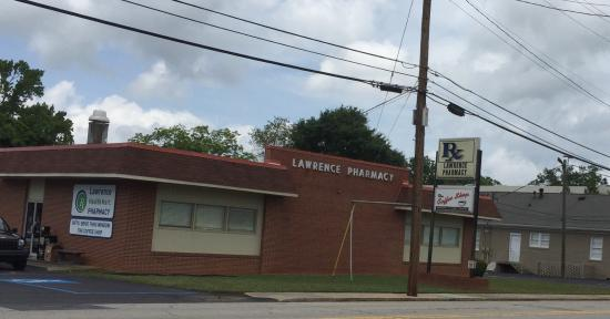 Coffee Shop at Lawrence Pharmacy: Entrance and signage