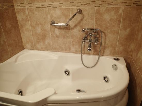 Jacuzzi Tub, Nice Fixtures, but No Shower Curtain