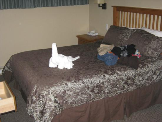 Panorama Vacation Retreat at Horsethief Lodge: Queen suite.  Oragami welcoming towels!