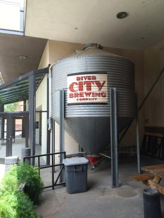 River City Brewing Company: signage, prop outside the resturaunt