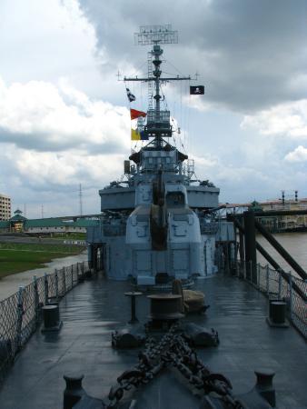 USS Kidd: Bow looking aft