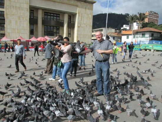 La Candelaria: Vanessa Ortegon my future wife and I feeding the Pigons