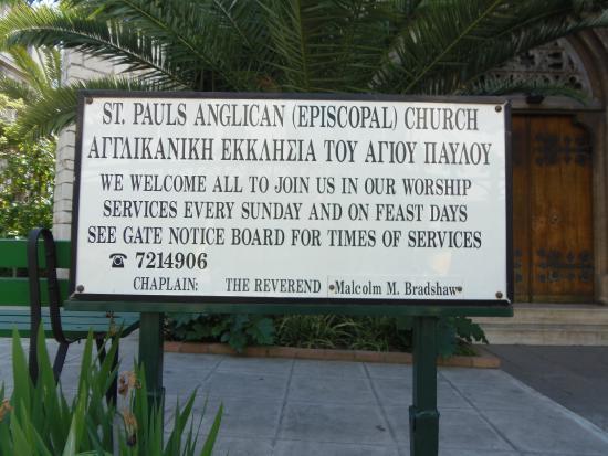 St Paul's Anglican (Episcopal) Church : Anuncio de la Iglesia.