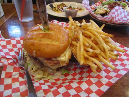 Big House Burgers & Bottlecap Bar : Crazy burger, 1 lb of patties with ham, egg, and toppings.