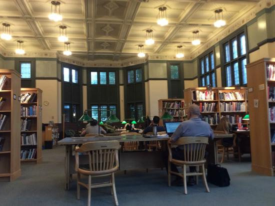Main Reading Room at Westmount Public Library. Note comfortable green leather chairs!