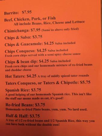 Hughie's Taco House: Menu MAY 2015