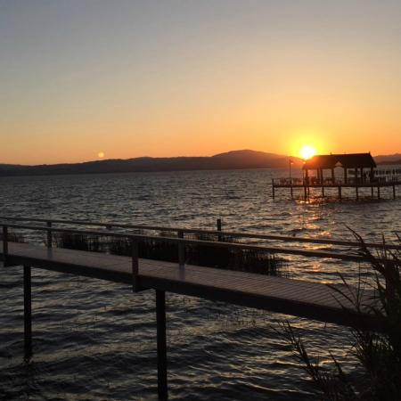 The Lodge at Blue Lakes : Incredible sunset view from the patio