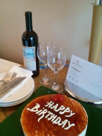 Porto Platanias Beach Resort Spa Birthday Cake And Wine Courtesy Of The Hotel