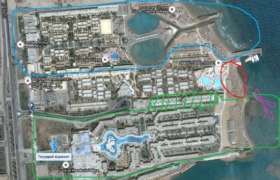 Ali Baba Palace : зеленый - алибаба, синий - жасмин, красный - алладин (пляж очень маленький), фиолет - коралловый