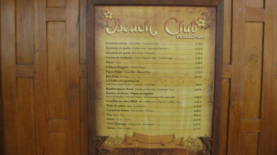 Adeje, Spania: меню ресторана