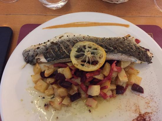 Les Pieds dans le Plat: Meerfisch mit Gemüsebeet - ausgezeichnet zubereitet