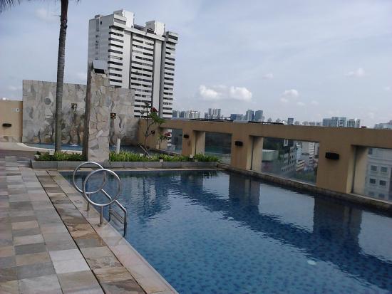 Somerset Bencoolen: Boa piscina, com um playgraund e piscininha para crianças. Vista espetacular