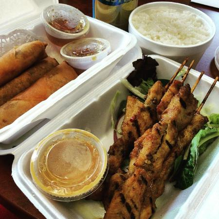 Spoon & Fork Thai & Vietnamese Cuisine: Shrimp Rolls & Chicken Satay with a side of Steamed Rice