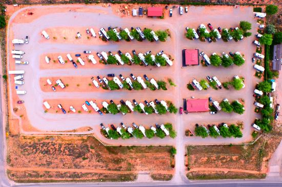 Spanish Trail RV Park: Drone photo from above park
