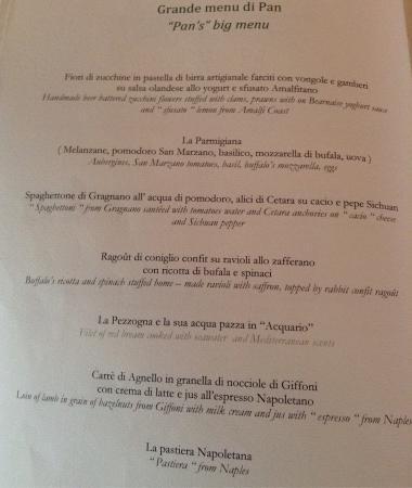 Menu Degustazione Picture Of Il Flauto Di Pan Ravello