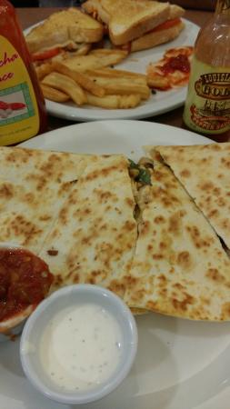 Denny's : Yummy chicken quesadillas, spicy sandwich, with twisted fries!!!