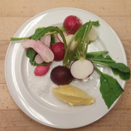 local 'sole food farms' radishes, butter & maldon salt