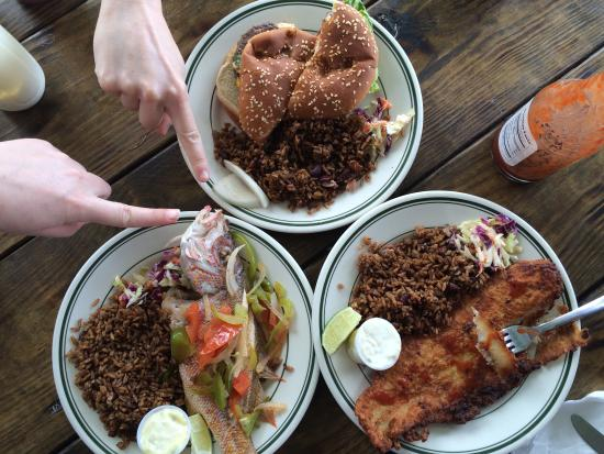 Cleveland's Beach Club: Grilled snapper, fried snapper, and burger ...