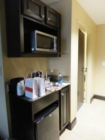 Holiday Inn Express & Suites Tampa USF-Busch Gardens: Wet bar, fridge and microwave.