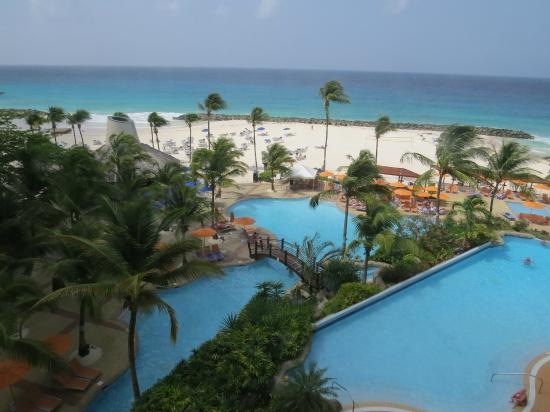 View of pools, beach & sea from room 259