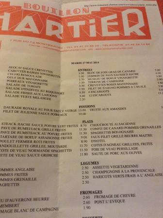 Le menu photo de le bouillon chartier paris tripadvisor for Exterieur quai le bouillon de l est