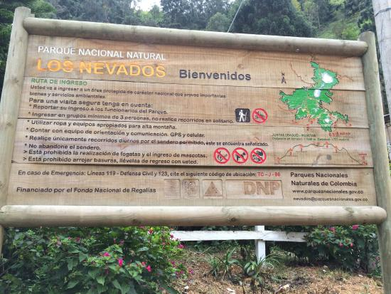 "Ibague, Colombia: ""Los Nevados National Park"" map"