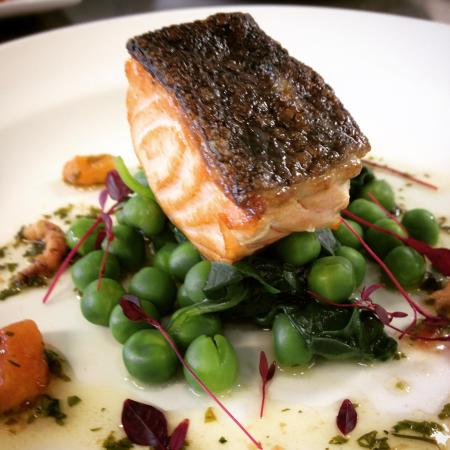 The Foundry: Our popular salmon with spinach, samphire and a brown shrimp burre noisette