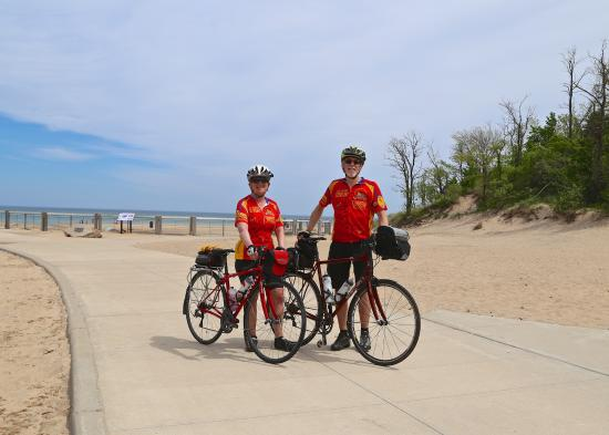 Bicyclists at the Indiana Dunes
