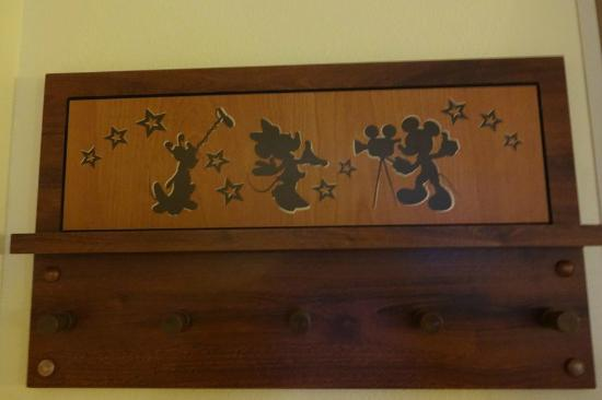 Disneyu0027s All Star Movies Resort: Wooden Coat Rack On Wall Outside Bathroom  Area