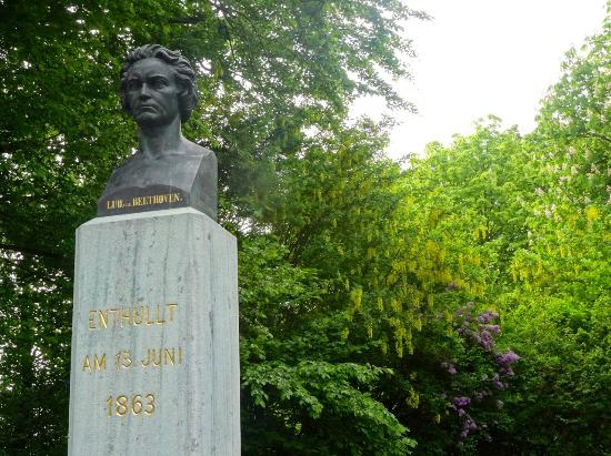 Vienna Woods: Bust of Beethoven in flowery nook of the Beethovengang, Nussdorf