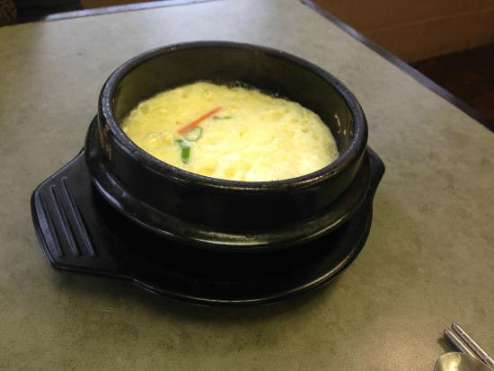 Soo Dam Korean Kitchen Steamed Egg Presented At The Table Before Ordering Mighty Fine