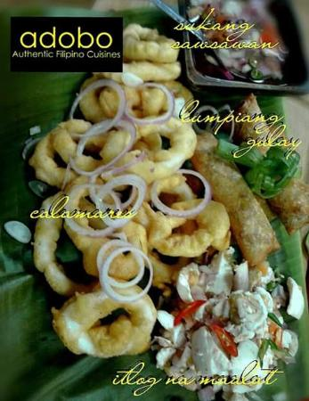 Pampagana Platter Appetizer Platter Consist Of Vegetable Spring Rolls Calamares Salted Duck Picture Of Adobo Authentic Filipino Cuisines Muscat Tripadvisor