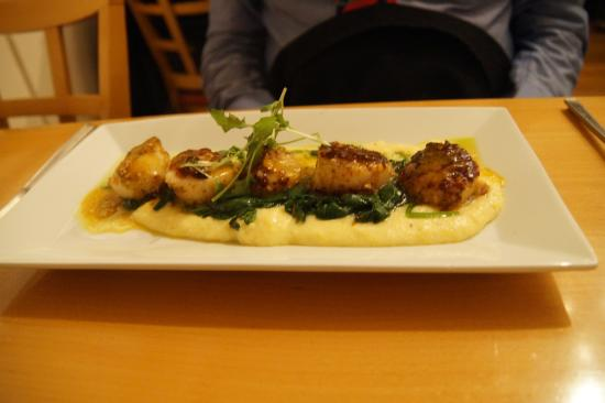 ... : Almond Dusted Grilled Scallops on Polenta with Smoked Tomato Gravy