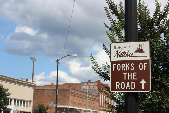 Forks of the Road sign, Natchez, MS, May 2015