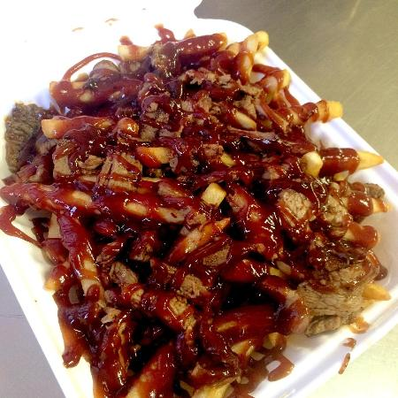 Eugene, OR: Brisket Fries to go! Typical Tuesday Special at Toxic Wings & Fries