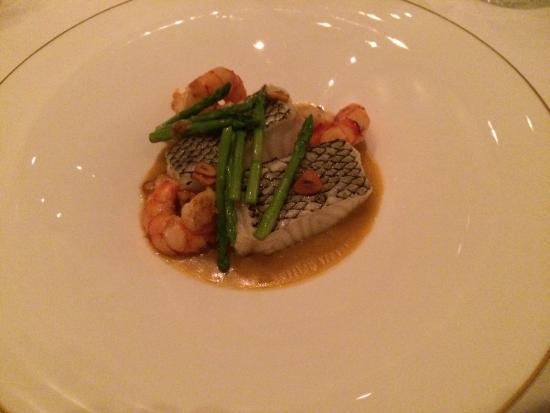 Catalan : pan roasted sea bass with shrimp & asparagus