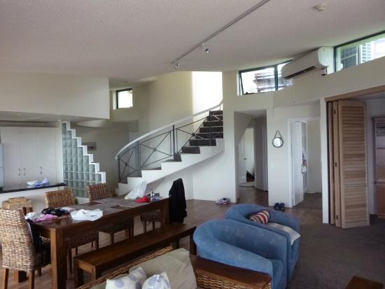 Waterview Resort: View of lounge, dining, entry and stair to roof space