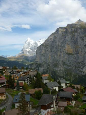Chalet Hotel Alpenruh: View from our Balcony of Murren and beyond