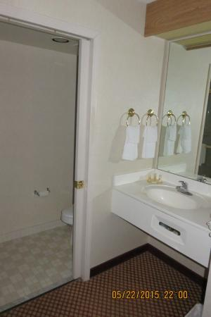 Days Inn by Wyndham Pittsburgh Airport: the sink with the toilet and shower to the left