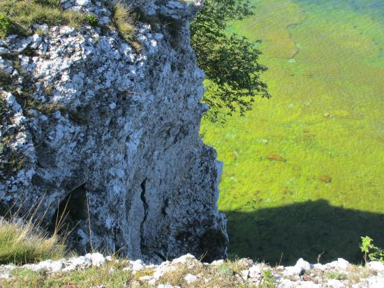 Högklint Naturreservat: View below (water was greenish due lighting)...huge drop-off