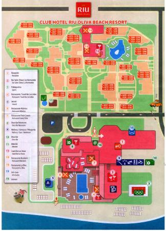 Map of hotel grounds picture of clubhotel riu oliva for Riu oliva beach village