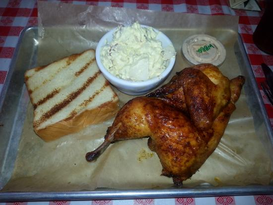 Greater Good Barbecue: Half Smoked Chick with 1 side ( my wife took the other one )