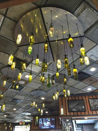 Wine bottle chandelier picture of grimaldis pizzeria baton rouge grimaldis pizzeria wine bottle chandelier aloadofball