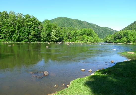 Nolichucky Gorge Campground: View of Nolichucky River from campground