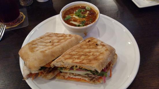 Timothy O'Toole's Pub Gurnee: Bahn Mi sandwhich with chili