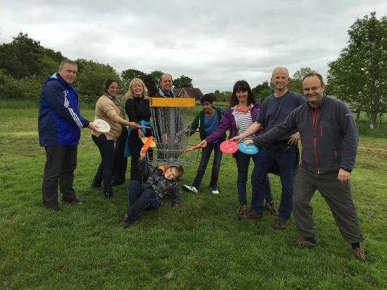 Quarry Park Disc Golf: After our efforts, a team shot!