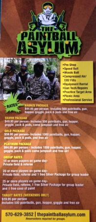 brochure with prices picture of paintball asylum tannersville