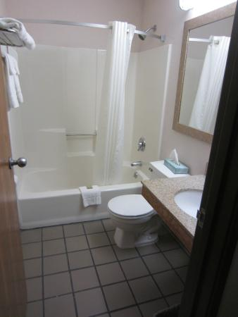 Super 8 Lee/Berkshires/Outlet Area : The bathroom - it was clean, but the floor was weird.